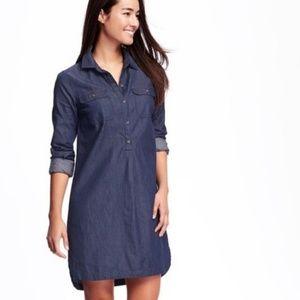 Chambray Dark Wash Long Sleeve Shirt Dress Large